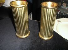 "ELEGANT PAIR BRASS CANDLESTICKS RIBBED COLUMNS 5"" HIGH 2"" DIA GREAT CONDITION"